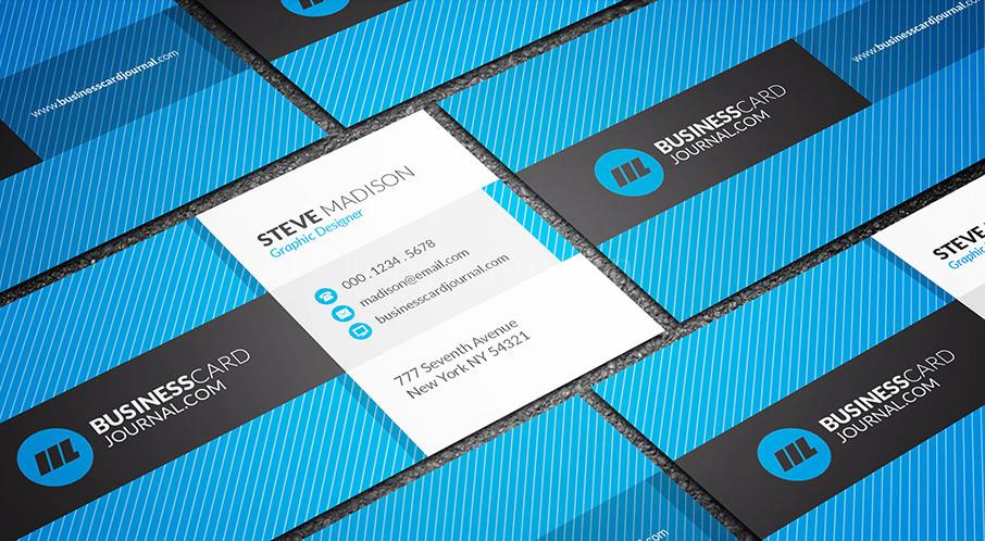 蓝色线条扁平大气金融科技商务国外创意名片源文件下载