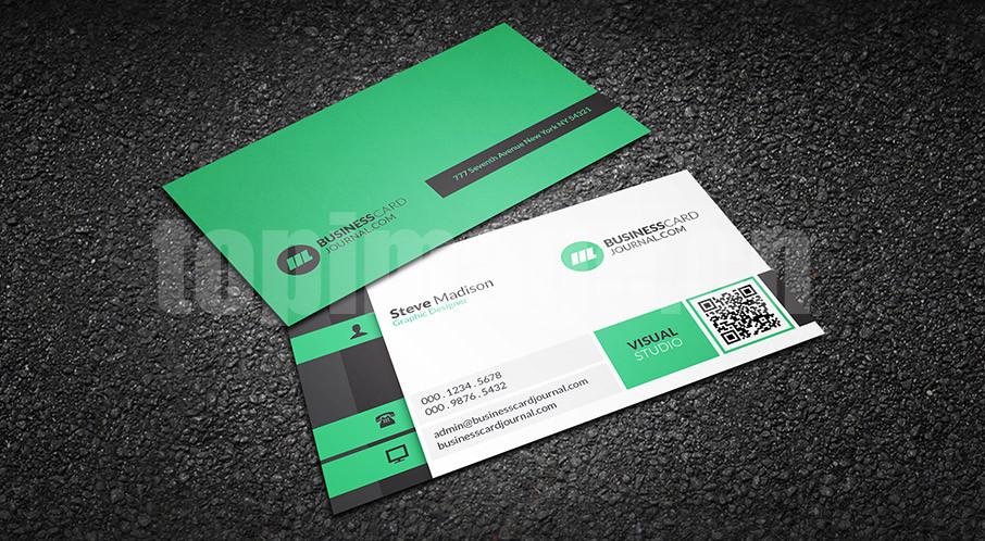 绿色扁平大气黑色金融商务国外创意名片源文件下载