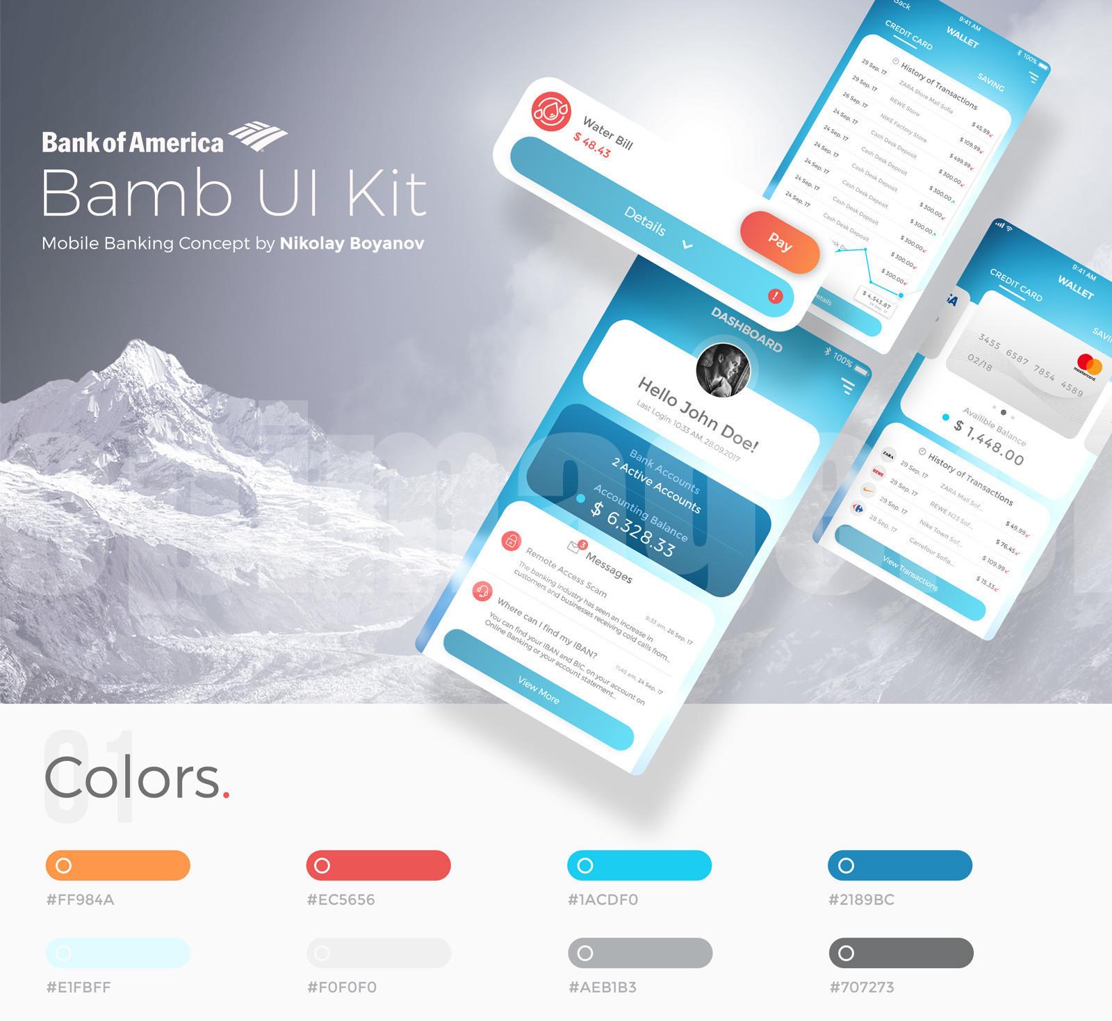 bank国外银行金融企业app 模板 ui kit 源文件xd模板素材下载