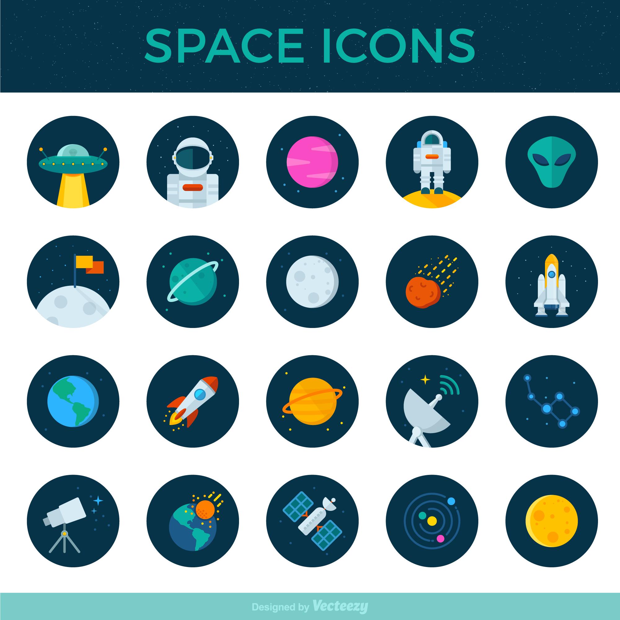 扁平矢量太空卫星,雷达,星系图,望远镜外星人元素icon源文件下载