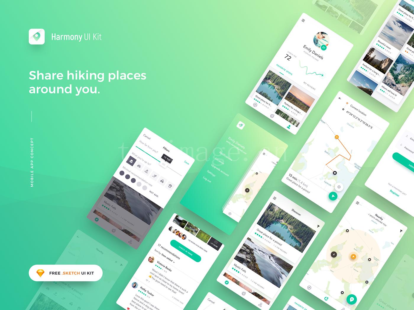 徒步旅行分享app ui 下载sketch模板源文件