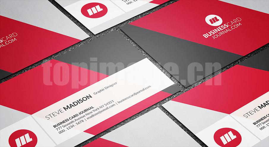 红色简约大气创意国外名片模板