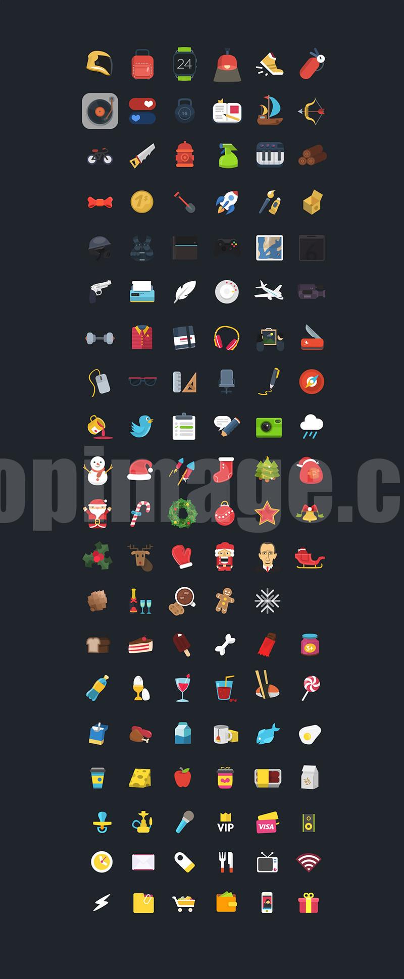 flat icon 图标 圣诞节 生活用品 工具 运动设备psd源文件下载