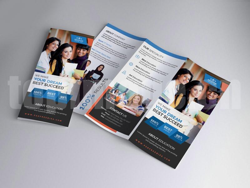 创意出国留学教育培训三折页psd源文件下载