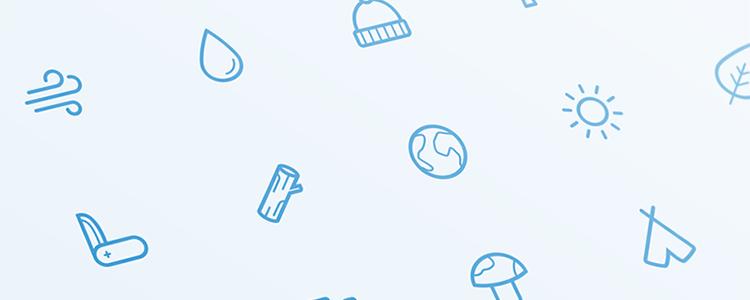 户外设备 军刀 树桩 帽子 蘑菇 树叶 方位图标线性icon矢量源文件下载