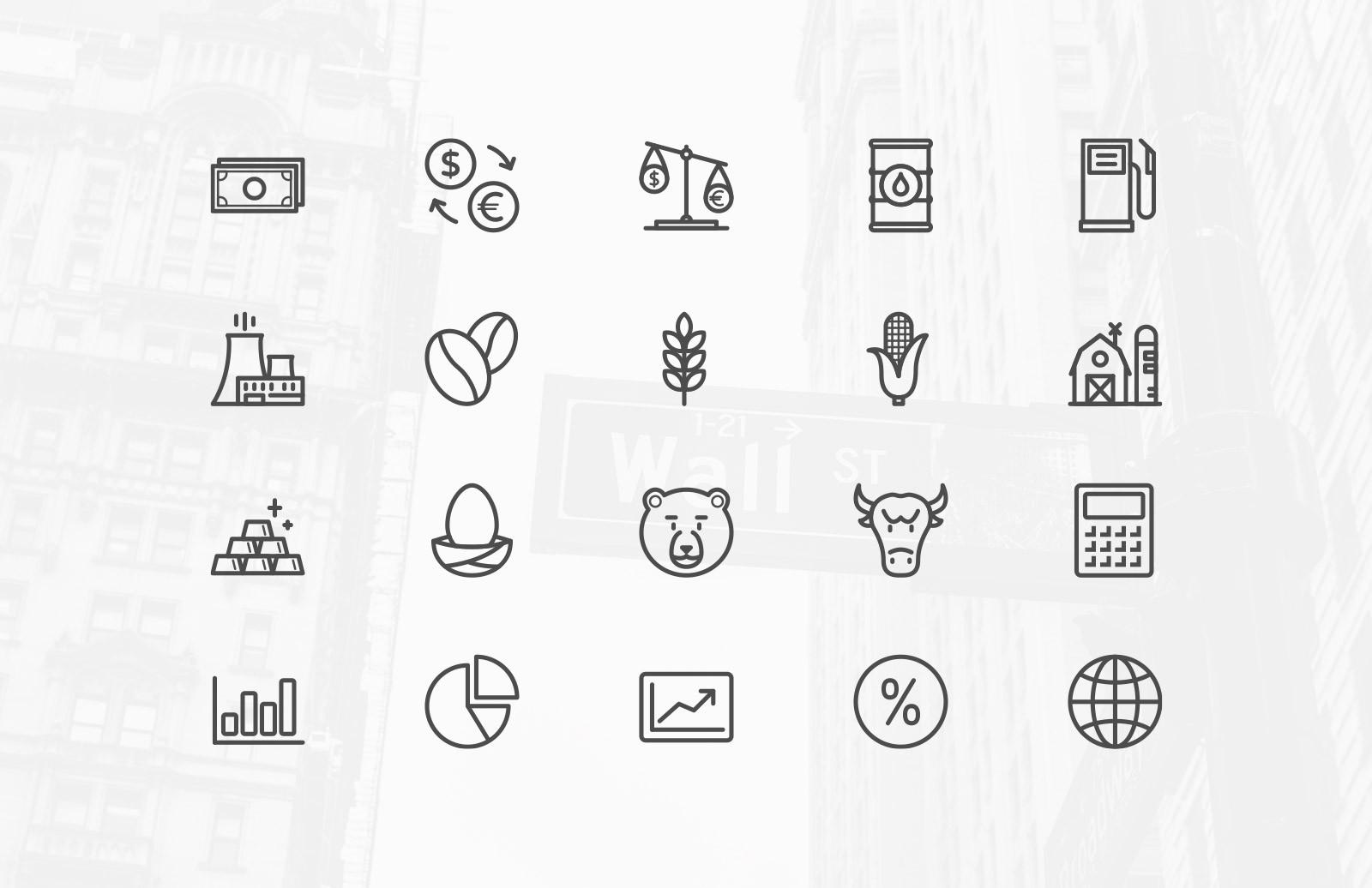 线性icon 计算器 金砖 饼状图 浏览器 大熊 钱币 玉米矢量源文件下载