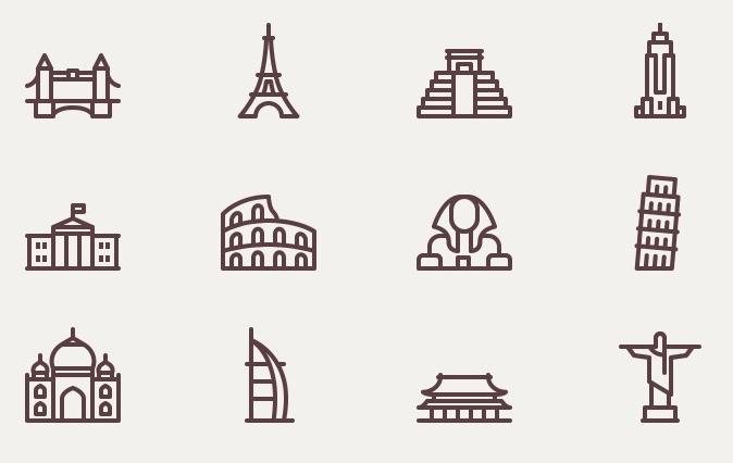 世界地标 建筑 艾菲尔铁塔 故宫 自由女神 清真寺 狮身人面像 斜塔 icon 图标源文件矢量下载