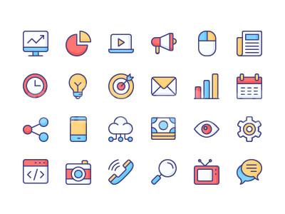 扁平 mbe 邮件 电话 电视 对话框 设置 手机 灯泡 鼠标flat图标 源文件icon下载