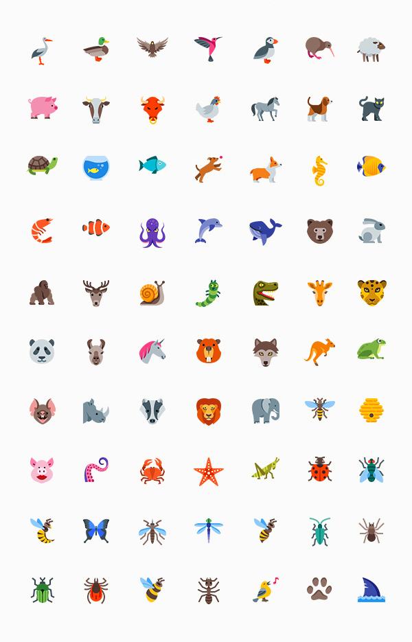 动物 昆虫 矢量图标 熊猫 狮子 狼 大象 袋鼠 青蛙 蜜蜂 金龟子 熊 乌龟 鱼类图标icon文件下载