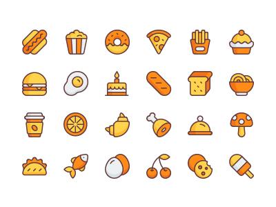 食物 饮料 面包 鸡腿 火腿 面包圈 flat icon源文件下载