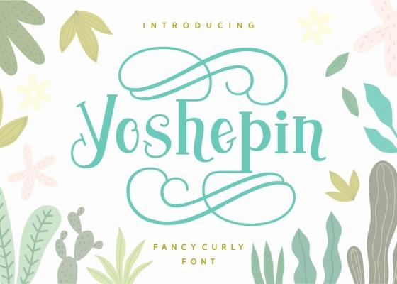 Yoshephin现代时尚清新俏皮贺卡衬线英文字体下载