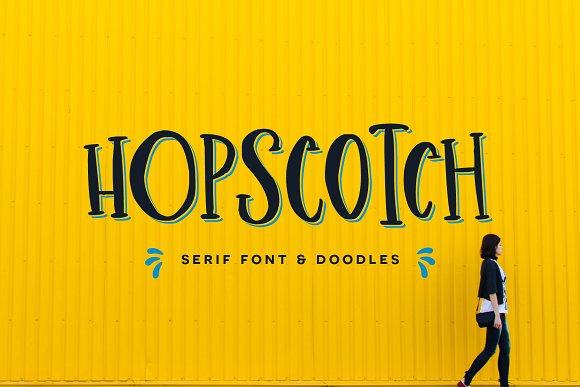 Hopscotch创意个性趣味广告描边衬线英文字体下载