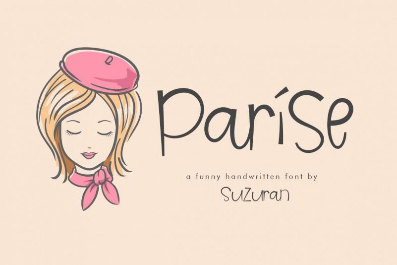 Parise手写手绘个性俏皮可爱贺卡礼物英文字体下载