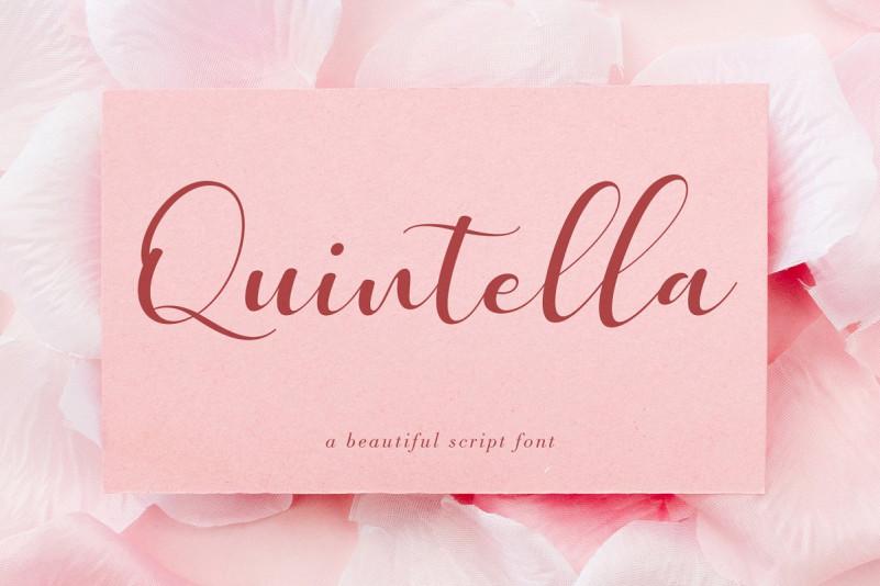 Quintella手写花体连笔唯美节日婚礼贺卡英文字体下载