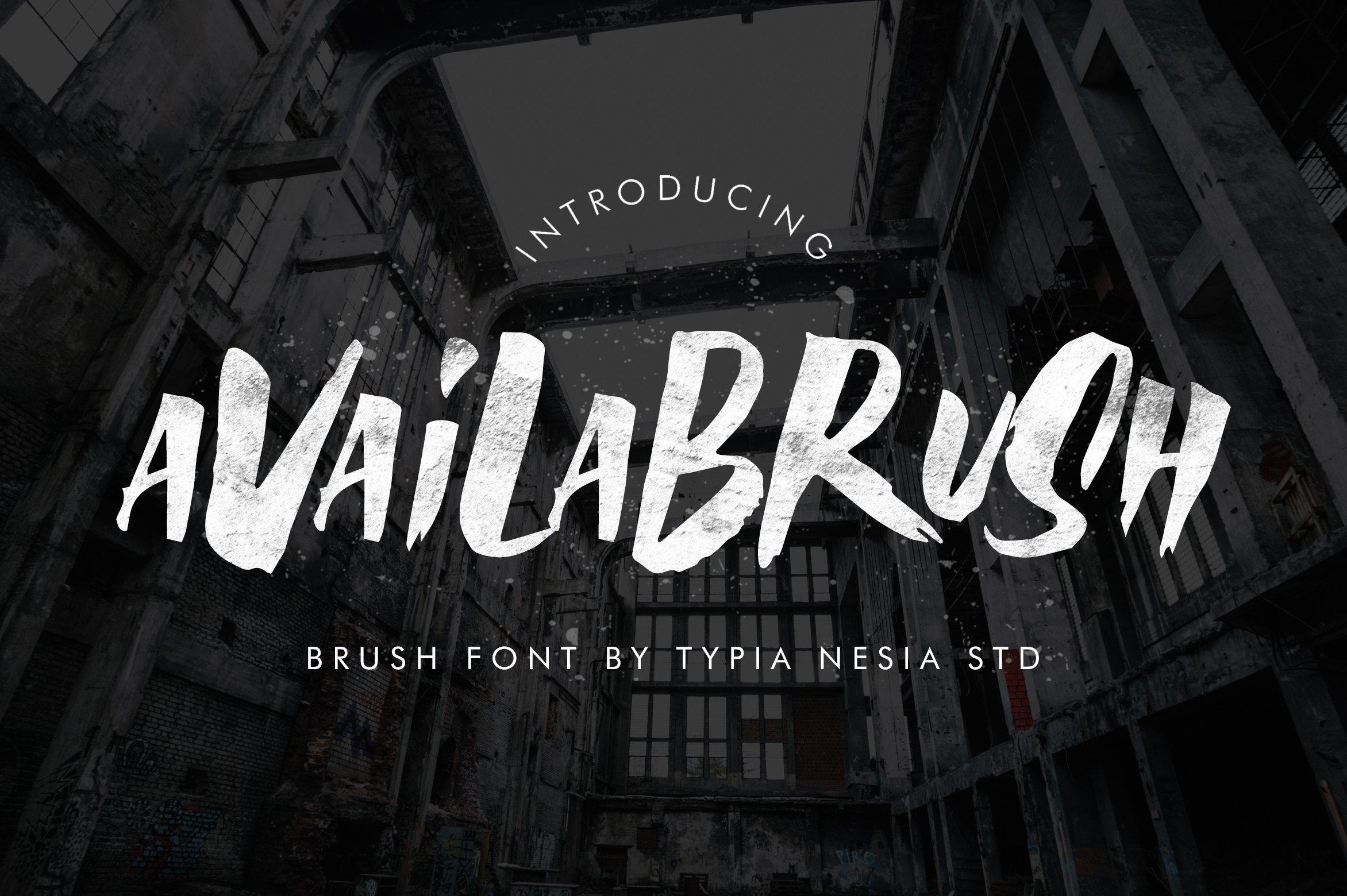 Availabrush手写书法笔刷笔触肌理底纹海报英文字体下载