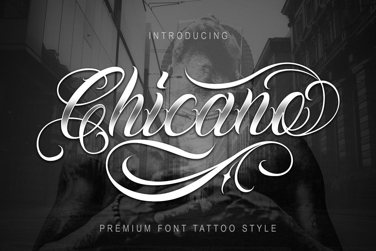 Chicano现代个性连笔奇卡诺花体婚礼纹身摄影海报英文字体下载