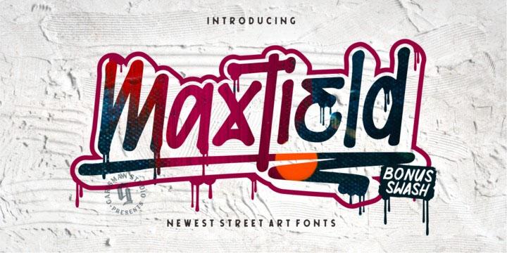 Maxtield手写笔刷个性涂鸦图案底纹英文字体下载