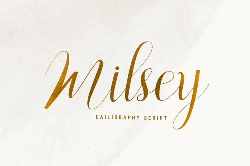 Milsey手写连笔肌理店标婚礼英文字体下载