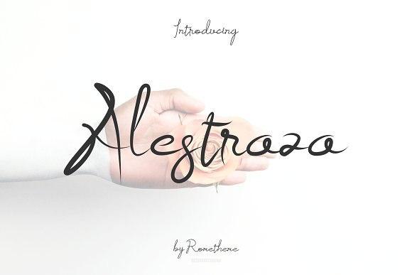 Alestraza手写书法笔触海报英文字体下载