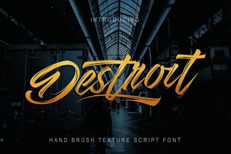 Destroit手写书法笔刷笔触摄影海报英文字体下载