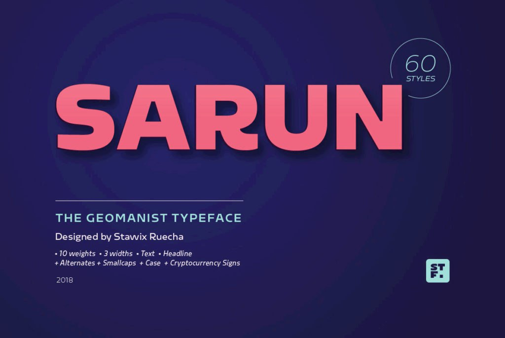 Sarun现代等宽简约品牌logo无衬线英文字体下载