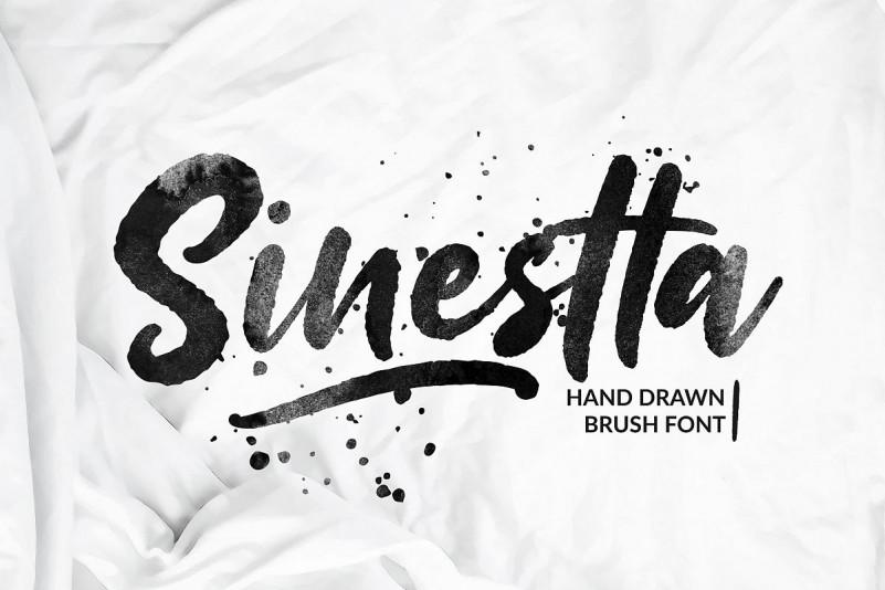 Sinestta手写书法毛笔笔刷肌理连笔英文字体下载
