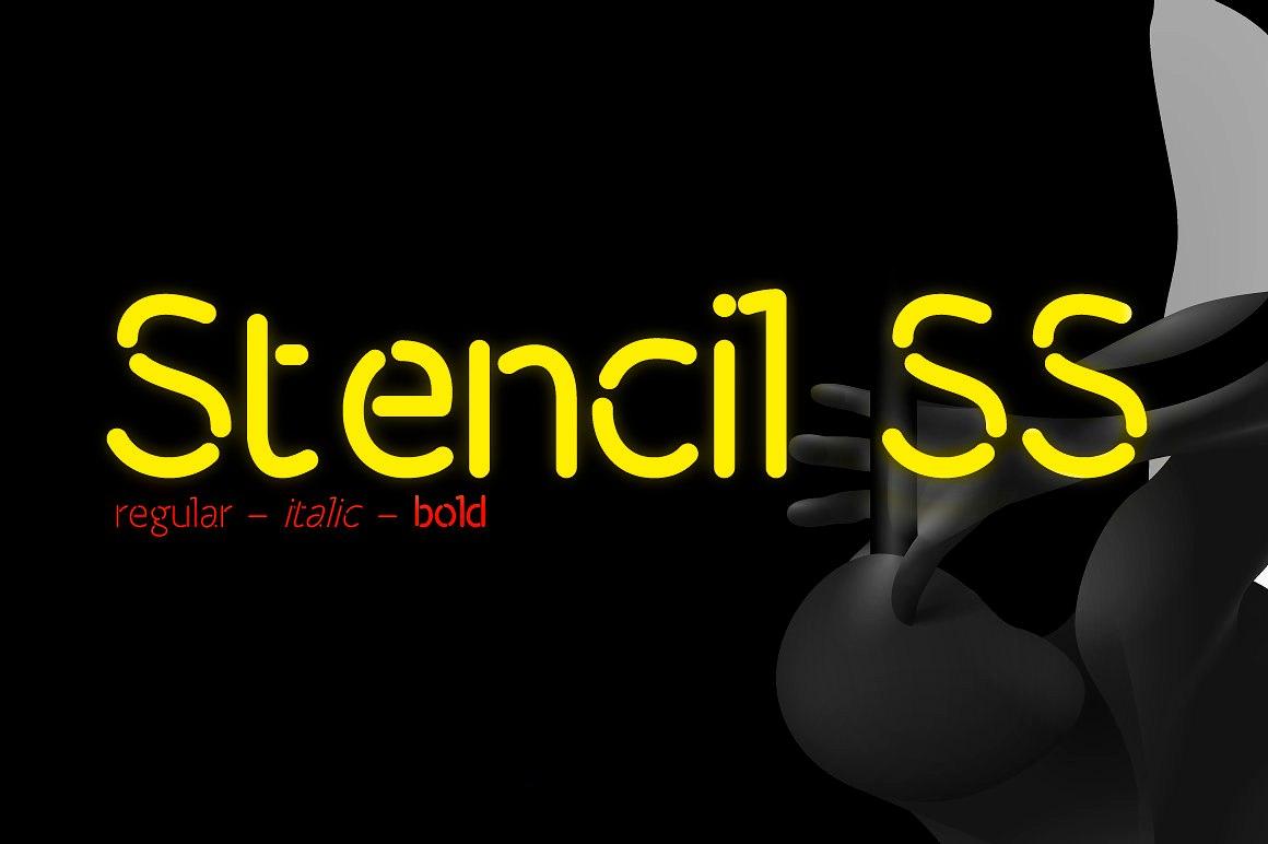 Stencil SS现代科技品牌logo无衬线英文字体下载