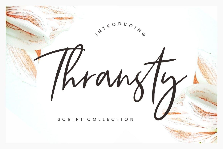 Thransty手写连笔唯美婚礼贺卡英文字体下载