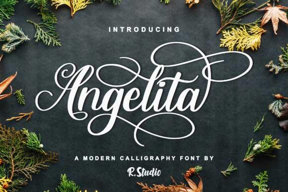 Angelital手写连笔奇卡诺花体婚礼创意摄影海报英文字体下载