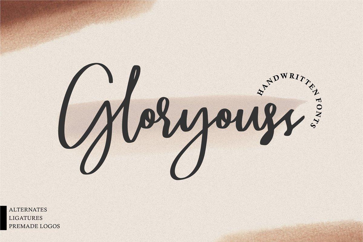 Gloryouss手写连笔品牌logo签名英文字体下载