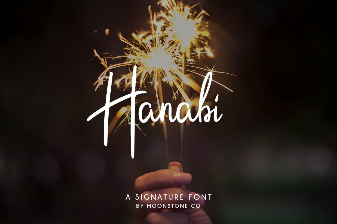 Hanabi Signature手写连笔摄影海报英文字体下载