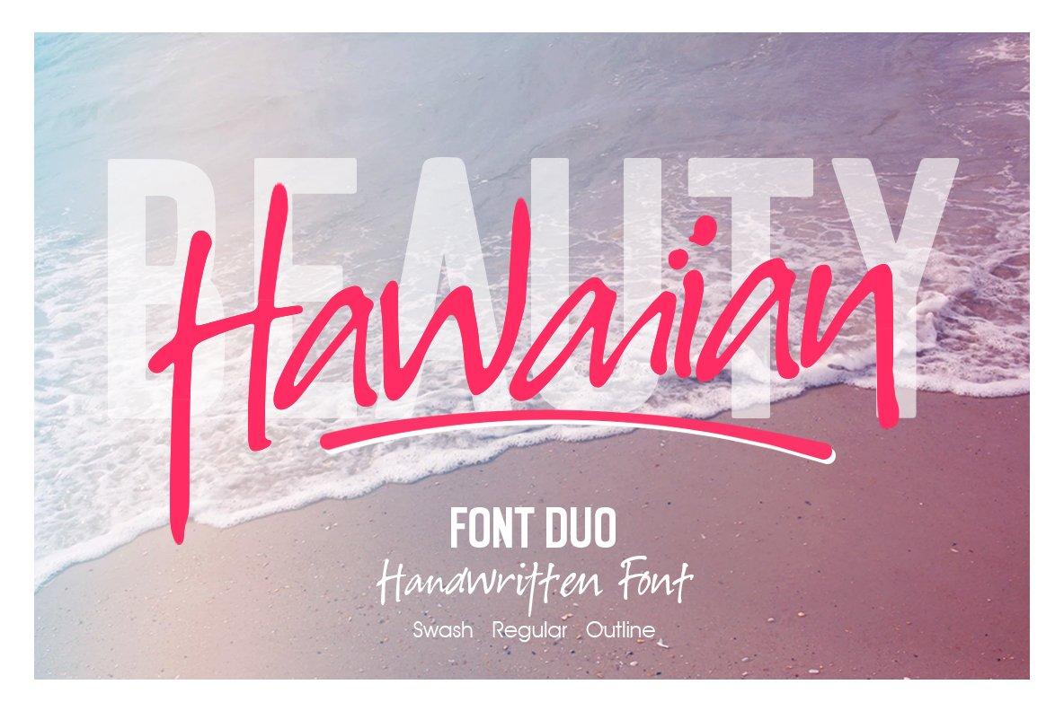 Hawaiian手写手绘水印店标签名英文字体下载