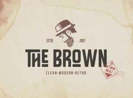 The Brown创意复古品牌logo无衬线英文字体下载