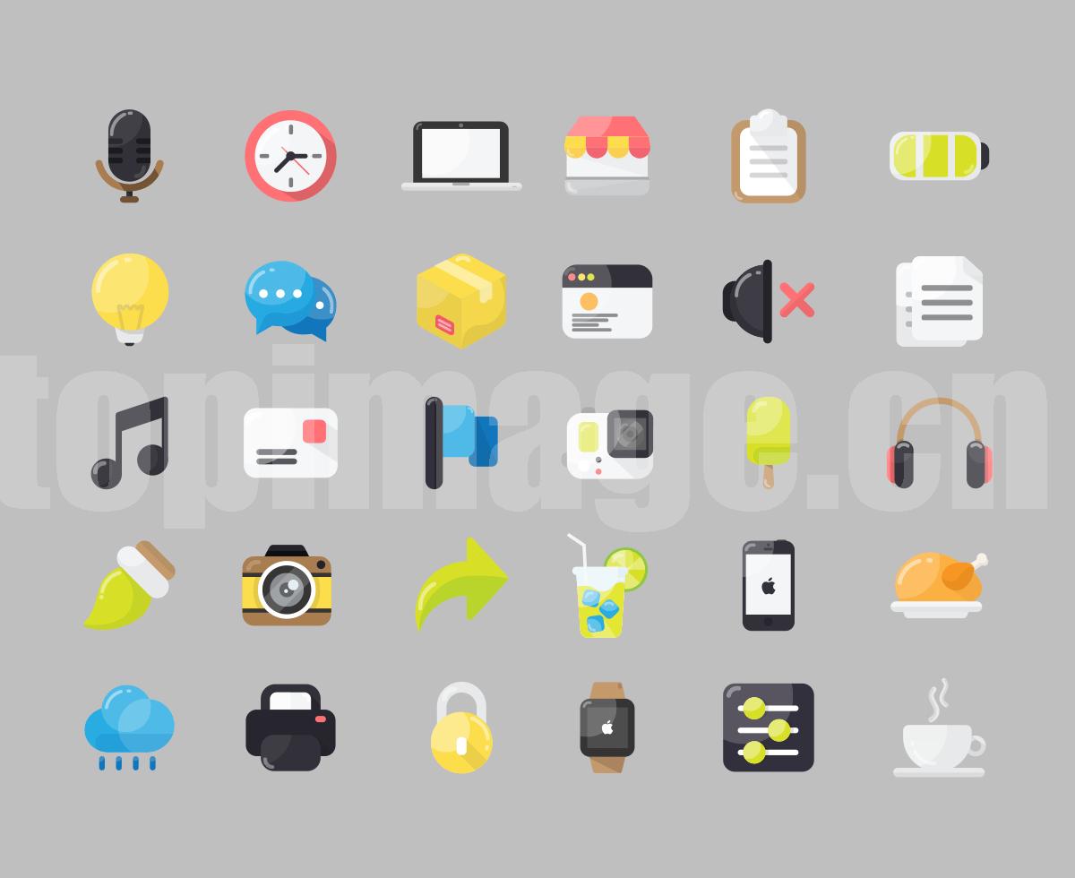 扁平 icon 数码产品时钟 电脑 商店 文档图标下载