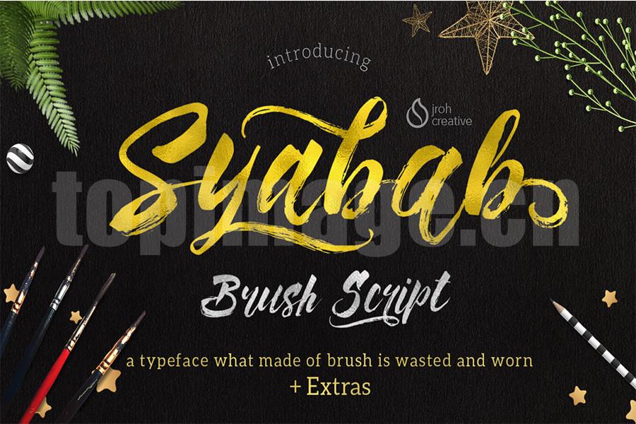 Syabab西餐厅菜单英文字体手写手绘下载