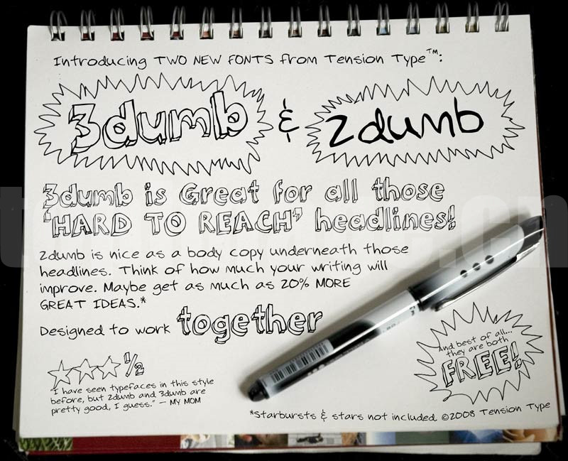 3dumb&2dumb好看的2d 3d立体手写手绘风格英文字体下载