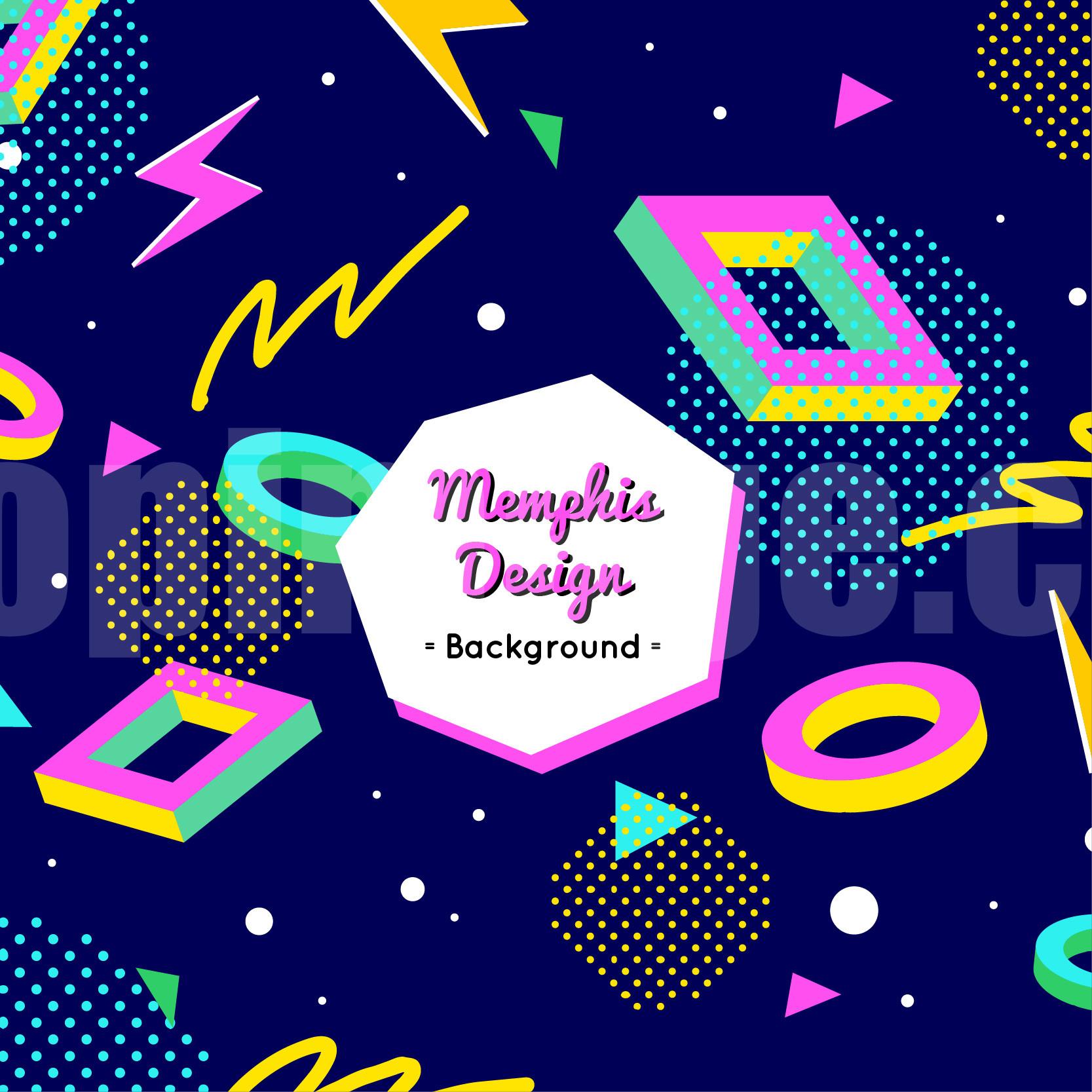 孟菲斯Memphis几何创意平面封面背景海报源文件下载