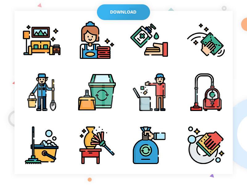 50+家庭保洁 清理 打扫卫生 家庭 回收吸尘器 洗手液 清洁矢量mbe风格icon下载