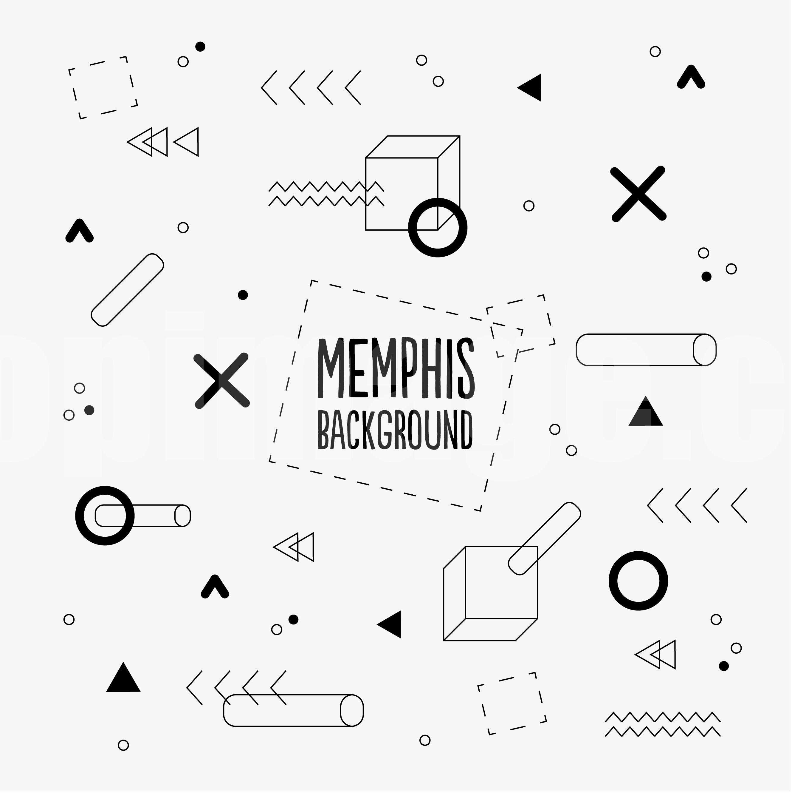 孟菲斯Memphis几何插画封面背景极简海报下载