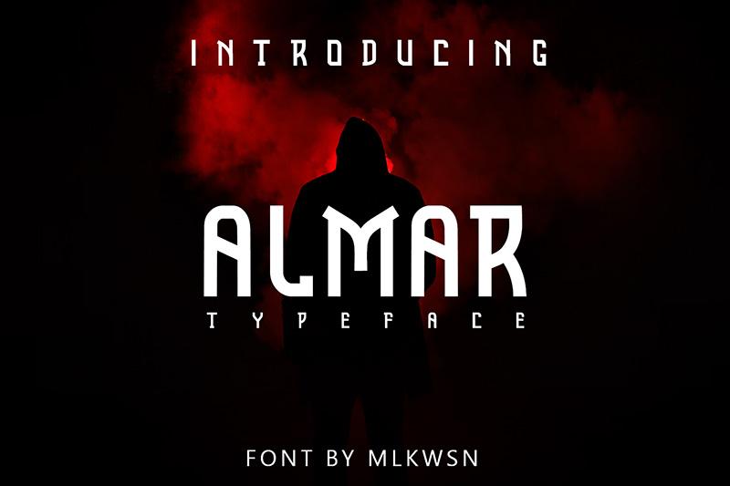 ALMAR影视海报主题创意logo英文字体下载