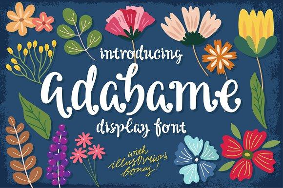 Adabame手写婚礼英文字体店标logo附带花卉矢量素材下载
