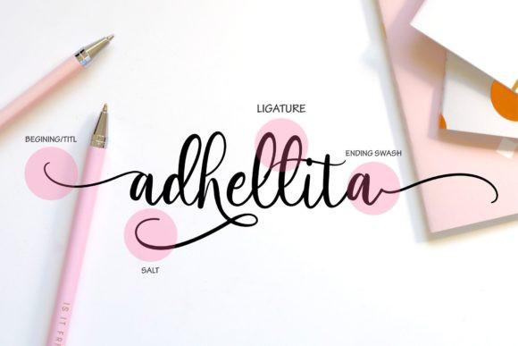 Adhellita婚礼花体好看的英文字体下载