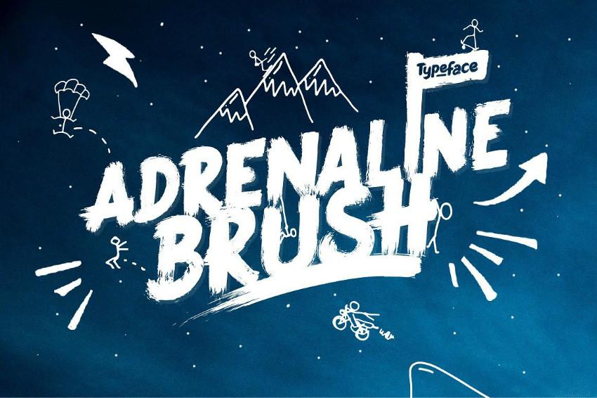 Adrenaline书法笔触大气毛笔英文字体下载