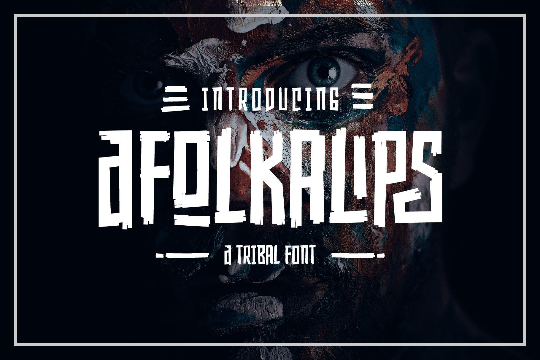 Afolkalips科幻创意游戏海报英文字体下载