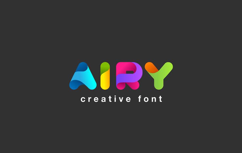 Airy创意logo渐变色彩英文字体下载