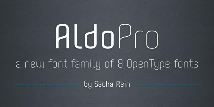 Aldo Pro 现代无衬线创意logo英文字体下载