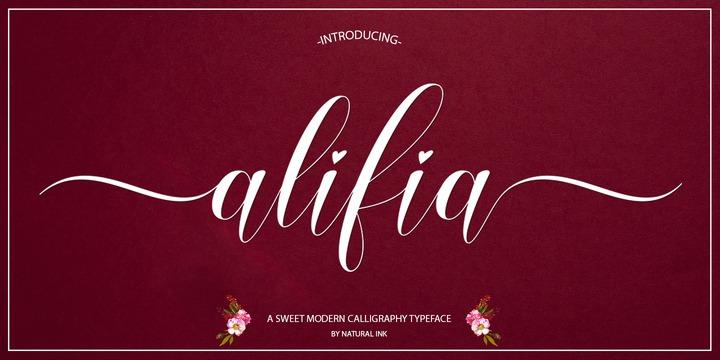 Alifia连笔花体好看的英文字体下载