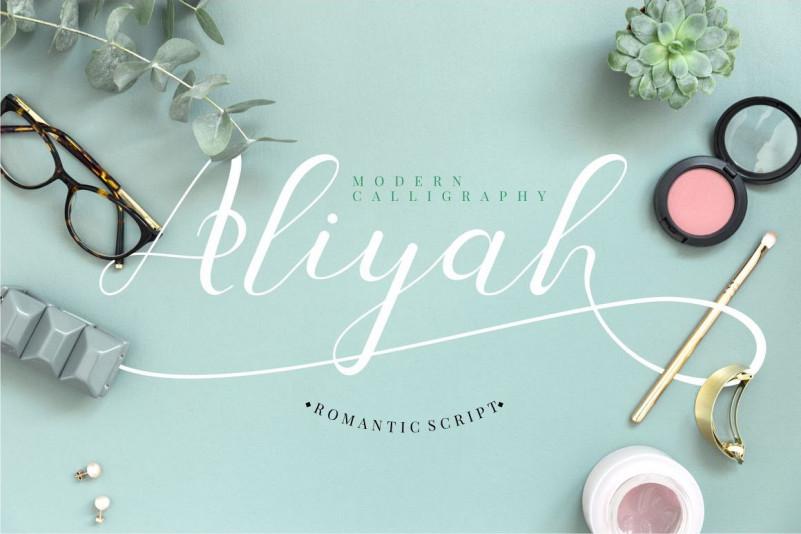 Aliyah婚礼手写连笔好看的英文字体下载