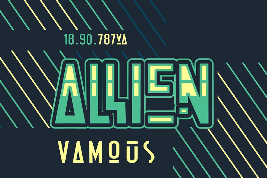 Allien现代科技创意logo英文字体下载