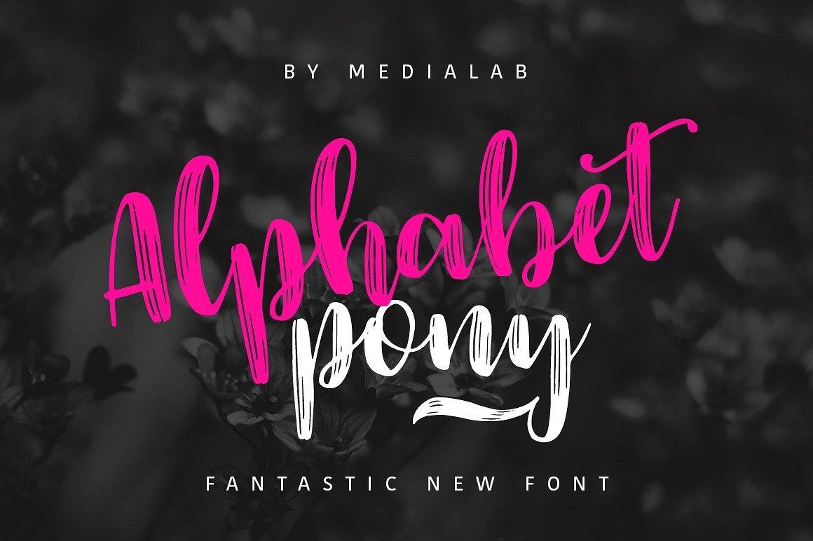 AlphabetPony个性纹理手写连体优雅海报英文字体下载
